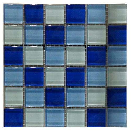 Mozaiek tegels blauw glas