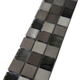 Mozaiek tegelstrip aluminium glas 5x30cm B705 Topmozaiek24