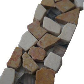 Mozaiek tegelstrip marmer glas 5x30cm B468 Topmozaiek24