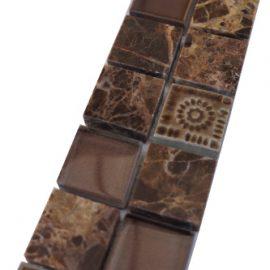 Mozaiek tegelstrip marmer glas 5x30cm B672 Topmozaiek24