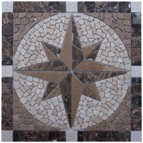 Mozaiek tegel windroos van Travertin marmer