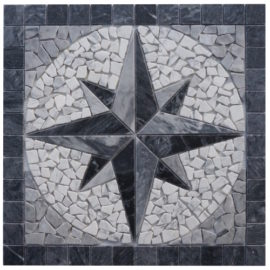 Mozaiek tegels medallion van Bianco Carrara